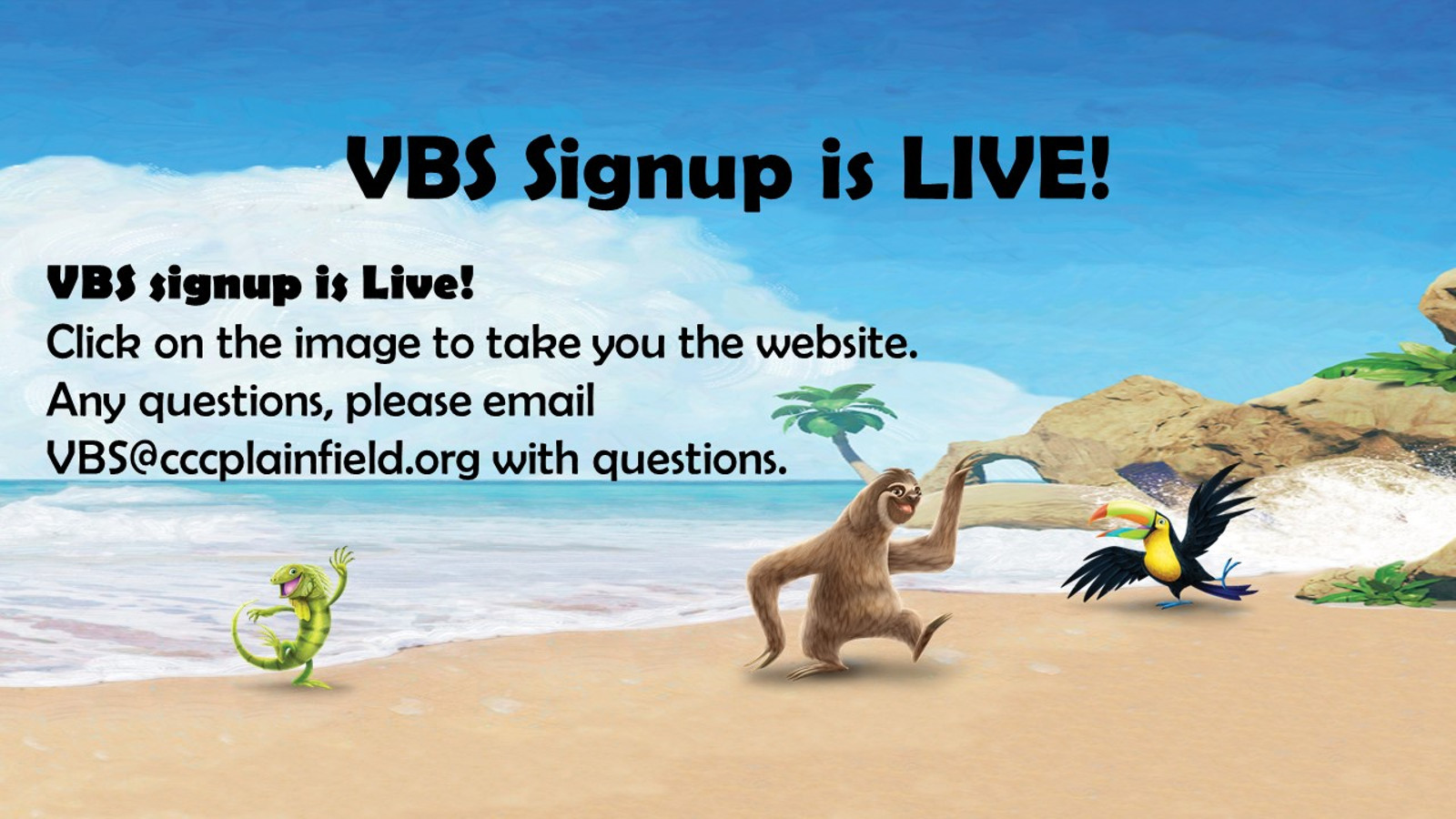 VBS 2018 signup webpage
